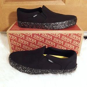 Vans NWT Size 8 Black Glitter Slip On Sneaker